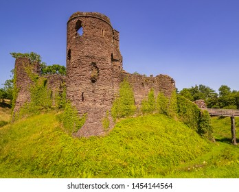 Grosmont Castle  a ruined castle in the village of Grosmont, Abergavenny Monmouthshire, Wales a view highlighting the moat and side of the castle