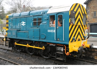 GROSMONT, NORTH YORKSHIRE, UK : 7 APRIL 2019 : Diesel Electric Locomotive No: 08850 - BR Class 08 Shunter stood at Grosmont Station on the North Yorkshire Moors Railway