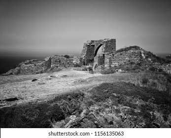 Grosnez Castle is a small 14th century castle ruin near Saint Ouen, on the northwest corner of the Channel Island of Jersey.