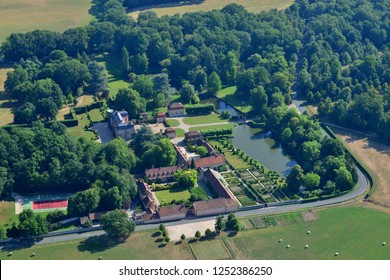 Grosrouvre, France - july 7 2017 : aerial photography of the La Mormaire classical castle