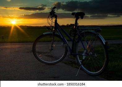 Gross Gerau, Germany - November 06 2020: Photo of Enik bicycle at susnet near Gross Gerau in Germany.