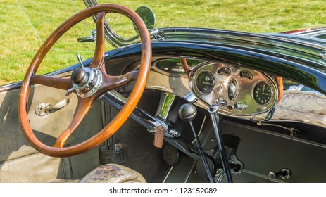 GROSSE POINTE SHORES, MI/USA - JUNE 17, 2018: Closeup of a 1929 Lincoln Phaeton dashboard at the EyesOn Design car show, held at the Edsel and Eleanor Ford House, near Detroit, Michigan.
