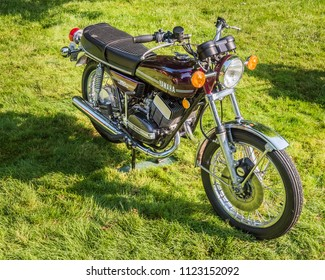GROSSE POINTE SHORES, MI/USA - JUNE 17, 2018: A 1974 Yamaha RD350 motorcycle at the EyesOn Design car show, held at the Edsel and Eleanor Ford House, near Detroit, Michigan.