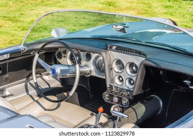 GROSSE POINTE SHORES, MI/USA - JUNE 17, 2018: Close-up of a 1959 Cadillac Cyclone Concept dashboard at the EyesOn Design car show, held at the Edsel and Eleanor Ford House, near Detroit, Michigan.