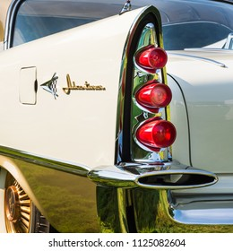 GROSSE POINTE SHORES, MI/USA - JUNE 17, 2018: Closeup of a 1957 DeSoto Adventurer taillight and fin at the EyesOn Design car show, held at the Edsel and Eleanor Ford House, near Detroit, Michigan.