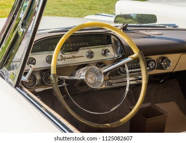 GROSSE POINTE SHORES, MI/USA - JUNE 17, 2018: Closeup of a 1957 DeSoto Adventurer dashboard at the EyesOn Design car show, held at the Edsel and Eleanor Ford House, near Detroit, Michigan.