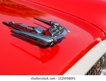 GROSSE POINTE SHORES, MI/USA - JUNE 17, 2018: Close-up of a 1959 Nash Metropolitan Flying Lady hood ornament at the EyesOn Design show, at the Edsel and Eleanor Ford House, near Detroit, Michigan.