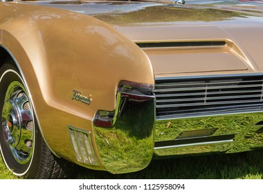 GROSSE POINTE SHORES, MI/USA - JUNE 17, 2018: Close-up of a 1966 Oldsmobile Toronado hidden headlight at the EyesOn Design car show, held at the Edsel and Eleanor Ford House, near Detroit, Michigan.