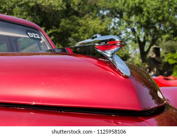 GROSSE POINTE SHORES, MI/USA - JUNE 17, 2018: Close-up of a 1948 Tucker Torpedo hood ornament at the EyesOn Design car show, held at the Edsel and Eleanor Ford House, near Detroit, Michigan.