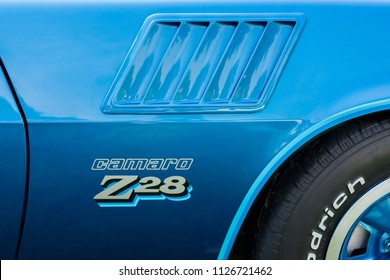 GROSSE POINTE SHORES, MI/USA - JUNE 17, 2018: Close-up of a 1978 Chevrolet Camaro Z-28 side scoop at the EyesOn Design car show, held at the Edsel and Eleanor Ford House, near Detroit, Michigan.