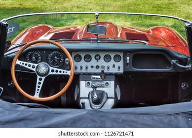 GROSSE POINTE SHORES, MI/USA - JUNE 17, 2018: Close-up of a 1963 Jaguar E-Type interior at the EyesOn Design car show, held at the Edsel and Eleanor Ford House, near Detroit, Michigan.