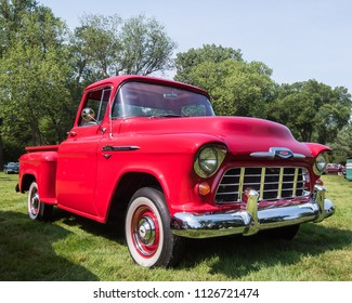 GROSSE POINTE SHORES, MI/USA - JUNE 17, 2018: A 1956 Chevrolet 3100 Pickup truck at the EyesOn Design car show, held at the Edsel and Eleanor Ford House, near Detroit, Michigan.
