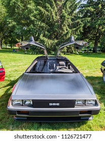 GROSSE POINTE SHORES, MI/USA - JUNE 17, 2018: A 1981 DeLorean DMC-12 car, with Flux Capacitor (Back to the Future movie), at the EyesOn Design show, at the Edsel and Eleanor Ford House, near Detroit.