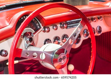 GROSSE POINTE SHORES, MI/USA - JUNE 13, 2017: A 1957 Chevrolet Corvette dashboard at the EyesOn Design car show, held at the Edsel and Eleanor Ford House, near Detroit, Michigan.