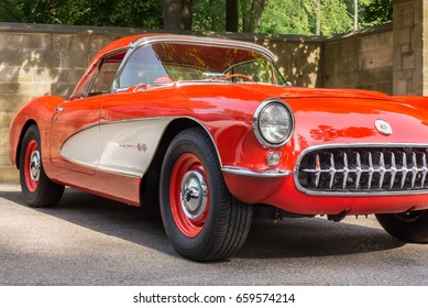 GROSSE POINTE SHORES, MI/USA - JUNE 13, 2017: A 1957 Chevrolet Corvette â??Fuelieâ?� car at the EyesOn Design car show, held at the Edsel and Eleanor Ford House, near Detroit, Michigan.