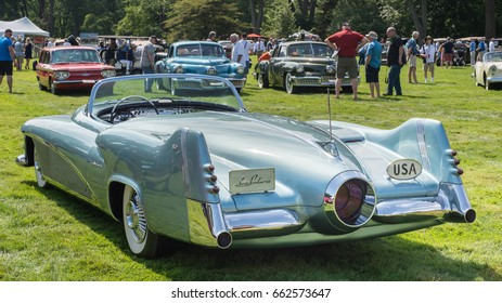 GROSSE POINTE SHORES, MI/USA - JUNE 18, 2017: A 1951 Buick LeSabre concept car at the EyesOn Design car show, held at the Edsel and Eleanor Ford House, near Detroit, Michigan.