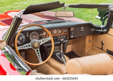 GROSSE POINTE SHORES, MI/USA - JUNE 18, 2017: A 1969 Jaguar XKE dashboard at the EyesOn Design car show, held at the Edsel and Eleanor Ford House, near Detroit, Michigan.
