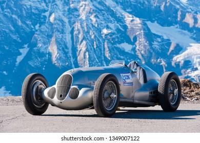 grossglockner, austria, 21 sep 2012, grossglockner grand prix, mercedes benz grand prix racecar, w125, driven by jochen mass, grosser bergpreis, competition for histsoric automobiles