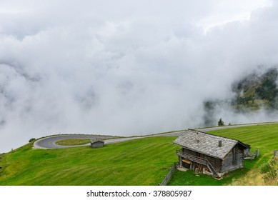 The Grossglockner high Alpine road area in overcast foggy weather