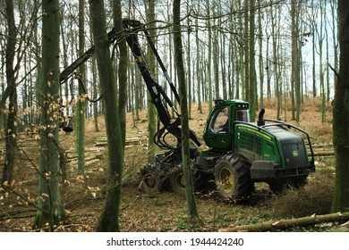 Grossropperhausen, Germany - March 16, 2021: The 1470G is John Deere's largest harvester model harvesting in the forest near the village of Grossropperhausen on March 16, 2021.