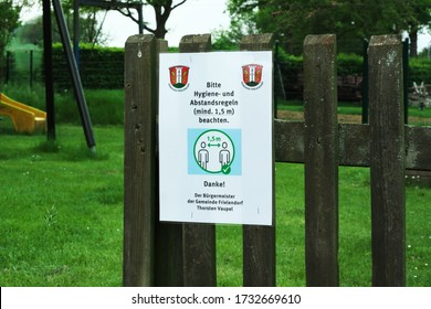 Grossropperhausen, Germany - May 13. 2020: As everywhere in Germany, as in the community of Frielendorf, special hygiene and distance rules apply to playgrounds due to the corona virus.