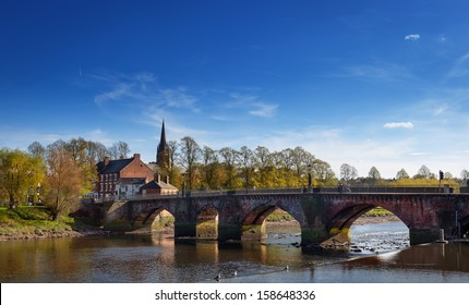 Grosvenor bridge over the river Dee in Chester, England.