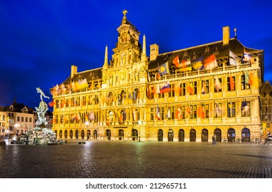 Grote Markt, Antwerp in Belgium spectacular central square and elegant 16th-century Stadhuis (town hall) dressed with flags