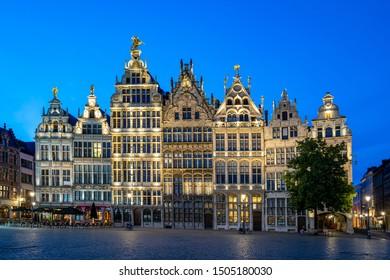 Grote Markt of Antwerp at night in Antwerp, Belgium.