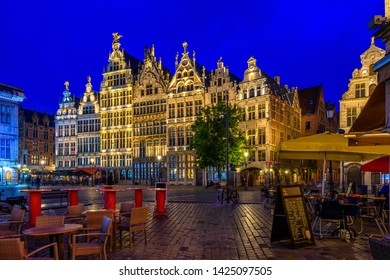 The Grote Markt (Great Market Square) of Antwerpen, Belgium. It is a town square situated in the heart of the old city quarter of Antwerpen. Night cityscape of Antwerpen.