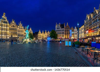 The Grote Markt (Great Market Square) of Antwerpen (Antwerp), Belgium. It is a town square situated in the heart of the old city quarter of Antwerpen. Night cityscape of Antwerp.
