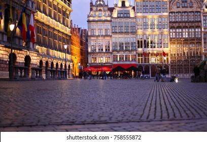 Grote Markt square in Antwerp, Belgium at night. Cobblestone on the cental squere in Antwerpen