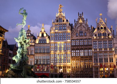 Grote Markt square in Antwerpen or Amtwerp in Belgium at night