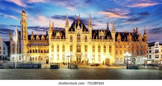 Grote Markt square in Bruges -Brugge, Belgium.