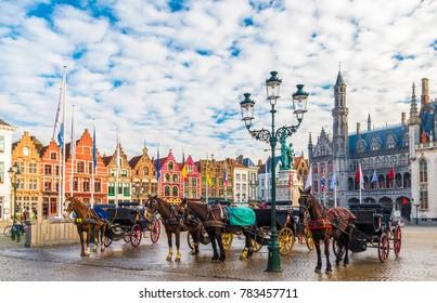 Grote Markt square in medieval city Brugge, Belgium.