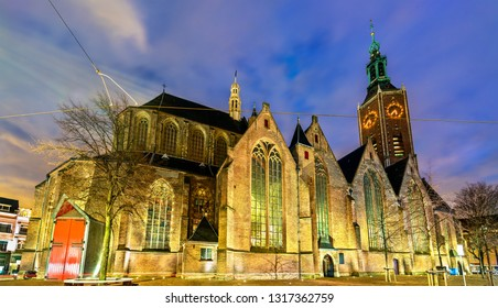 Grote of Sint-Jacobskerk, Great or St. James Church in the Hague at night. The Netherlands