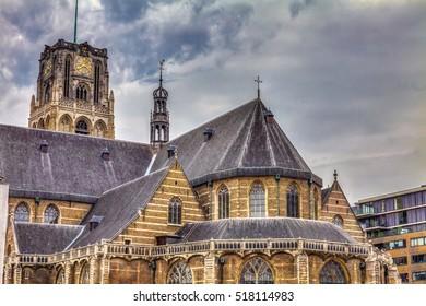 Grote of St Laurenskerk, city landmark, Rotterdam, Netherlands, HDR Image.