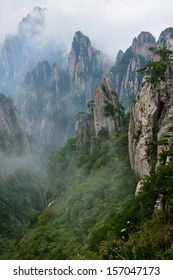 Grotesque Rocks on foggy Mt. Huangshan, Anhui Province