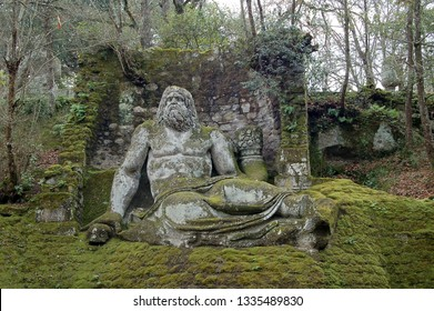 Grotesque sculpture in the Sacro Bosco (Sacred Grove) or Parco dei Mostri  (Park of the Monsters), Bomarzo, Viterbo, Italy.