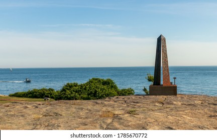 Groton, Connecticut - June 20, 2020: A monument on Avery Point Beach in Groton, Connecticut