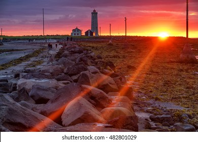 Grotta iceland lighthouse at sunset
