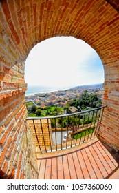 GROTTAMMARE (Ascoli Piceno, Marche, Italy) Panoramic view from Palazzo Priorale to the adriatic coast (Riviera delle Palme). Fisheye