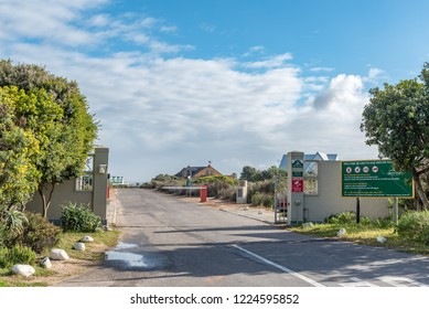 GROTTO BAY, SOUTH AFRICA, AUGUST 19, 2018: Entrance to the Grotto Bay Nature Reserve on the Atlantic Ocean coast in the Western Cape Province