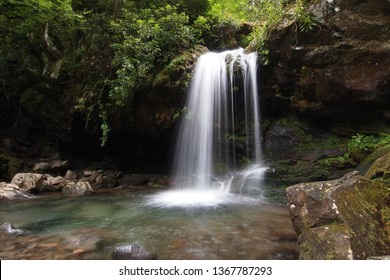 Grotto Falls in early summer in the Great Smoky Mountains National Park, Tennessee.