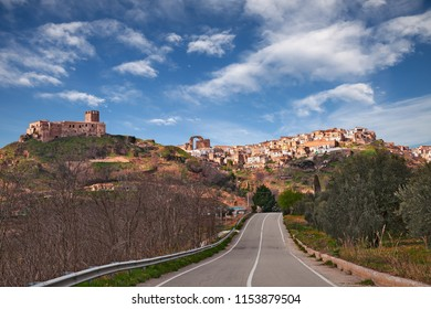Grottole, Matera, Basilicata, Italy: landscape of the ancient hill town and the medieval castle