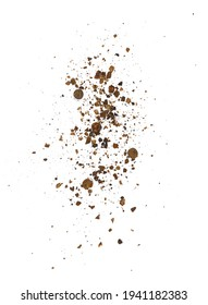 Ground Allspice, crushed pimento spice, Jamaican pepper pile isolated on white background. Pimento sprinkle.