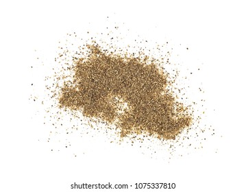 Ground black pepper isolated on white background, top view.