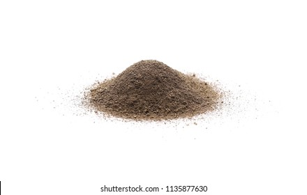 Ground black pepper powder pile, peppercorn isolated on white background