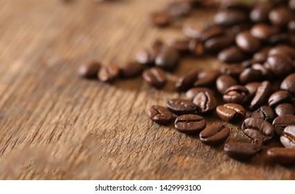 ground coffee and grains macro shot
