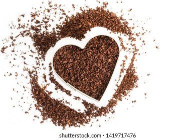 Ground Coffee in a Heart Shape