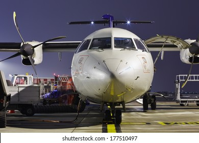 The ground crew is preparing the aircraft for take off.